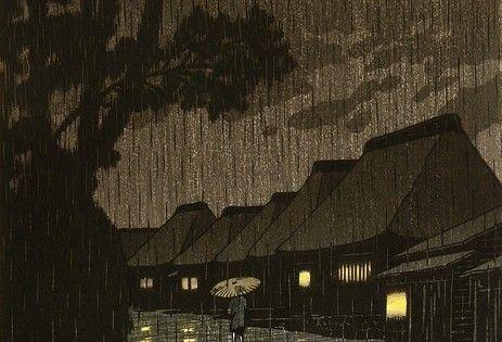 Rainy Night at Maekawa. Hasui Kawase. (1932) by DepecheMe, Bitte