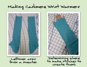 Upcycled 100/% Cashmere WaistcoatVest with Matching Wristwarmers