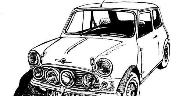 Classic MINI Cooper Sports Car / Car Drawing / Art Print