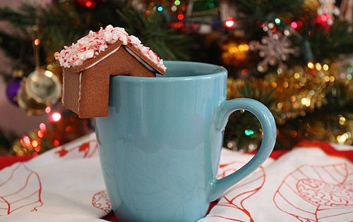 templates to make mini gingerbread houses to perch on coffee cups. Maybe