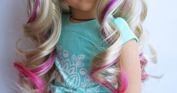 Custom American Girl Doll With Pink Highlights Curly