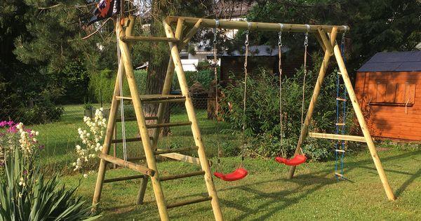 Schaukel Garten Kinder Zum Schaukeln Fur Zwei Kinder Bausatz Aus Rundholz Mit Zwei Schaukelsitzen Und Leiter Mi Schaukel Holz Garten Schaukel Holz Schaukel