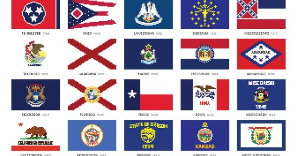 all the 50 states flags