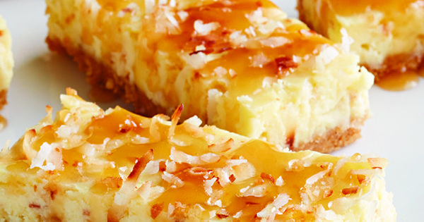 ... crust and drizzle of warm caramel topping, this coconut cheesecake s
