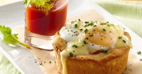 Eggs Benedict Biscuit Cups with Bloody Mary Shooters: Start your weekend morning