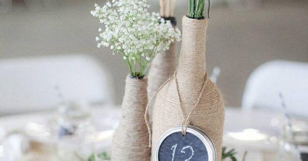 idee zum basteln zur hochzeit eine weinflasche mit garn. Black Bedroom Furniture Sets. Home Design Ideas