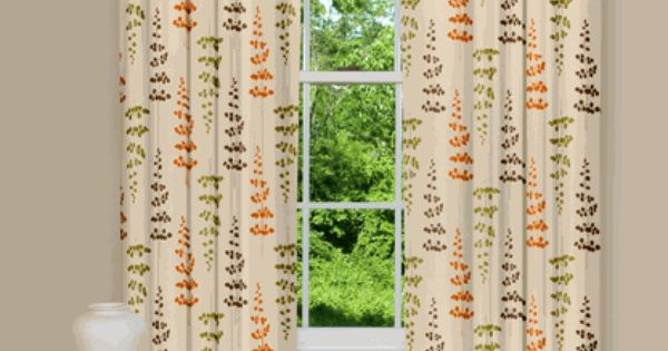 Curtains And Drapes Orange And Green Curtains Drapes For The Home Pinterest Kitchen