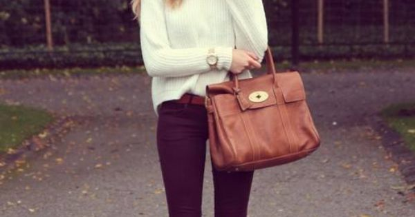 wine colored pants, tan accessories and perfect fall sweater! I really want