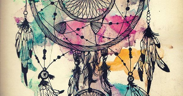 Watercolor dream catcher tattoo idea