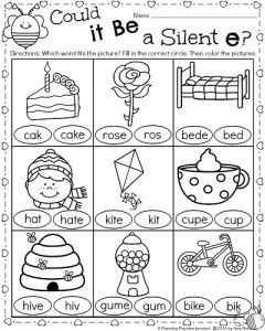 Silent E worksheet for 1st grade. Color in the correct word