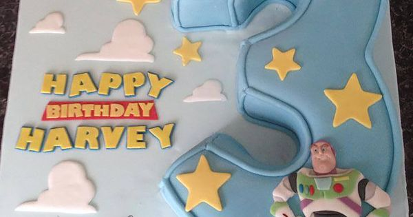 Disney Themed Cakes - Buzz Lightyear and Woody Toystory carved number 3