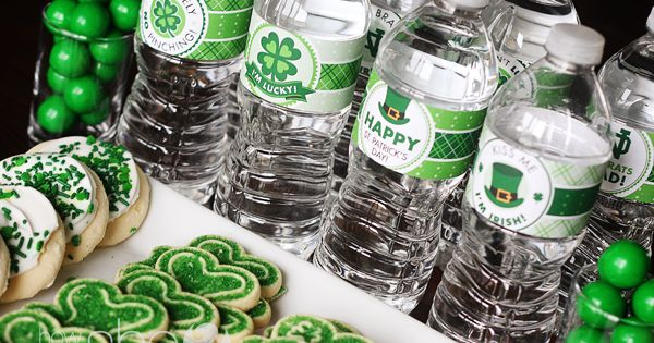 St. Patty Day Party Printables- water bottle labels and more - Love