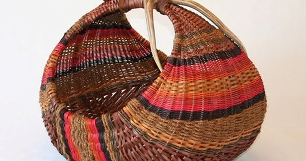 Basket Weaving Dyed Reed : Fallow earth hen basket hand dyed reed coir and mule