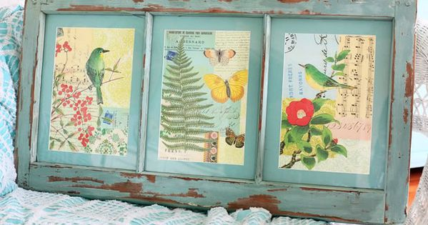 DIY: Vintage prints in an old window