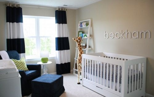 Black White Drapes Design For Baby Boy Room With White Crib And