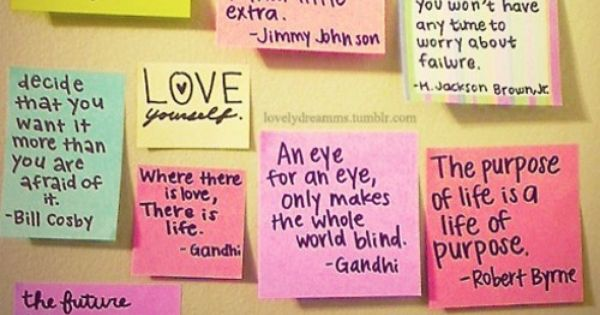 Inspirational quote wall. I want to do this, but with paintings, not