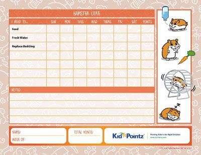 Take Care Of A Pet Hamster Kid Pointz Hamster Care Pet Care Printables Pet Care Chart