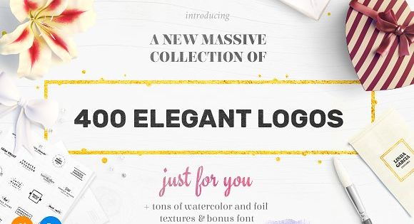 400 Elegant Logos with tons of watercolor and foil texture and bonus font