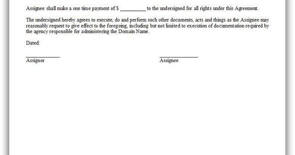 Free Printable Assignment Of Domain Name Legal Forms Free Legal