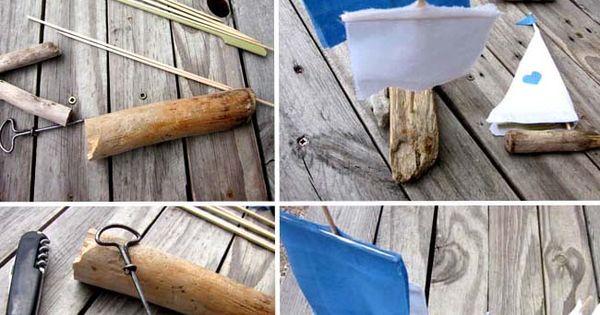 Diy petits bateaux en bois flott bateaux bouchons et for Bateau en bois flotte