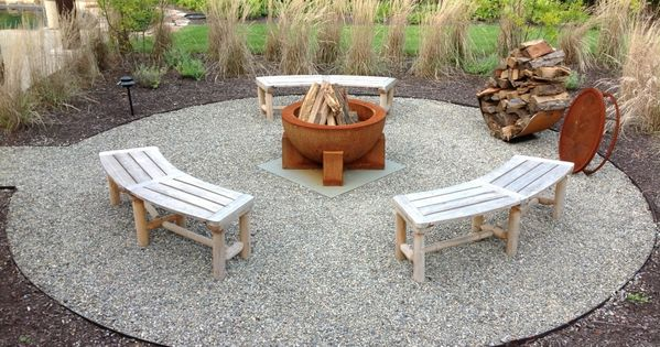 Fire pit circle created with pea gravel and surrounded by ...