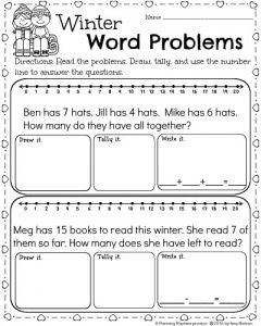 1st Grade Math And Literacy Worksheets For February Planning Playtime Word Problems Kindergarten Addition Words Math Word Problems