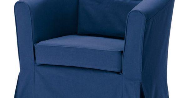 Ikea ektorp tullsta fauteuil idemo bleu avec for Ikea housse de fauteuil