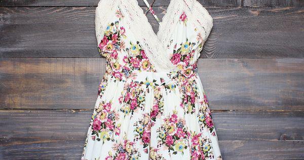 vintage inspired floral crochet romper women's boho chic bohemian gypsy hippie southern