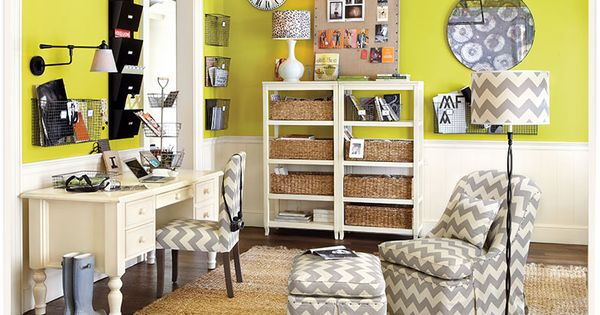 Functional office space with bold colors chevron stripes and functional baskets ballard - Ballard design home office ...