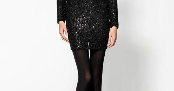 V-Back Sequin Black Dress