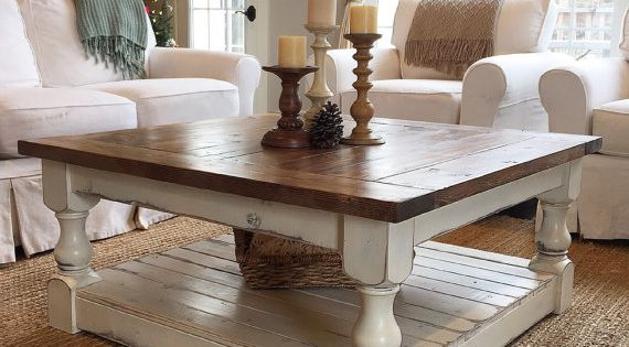 antique white harvest coffee table | coffee