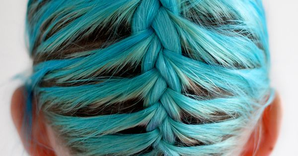 cyan blue hair - upside down french braid with bun on top