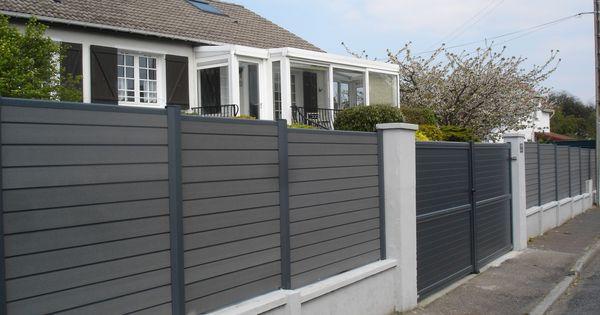 Cl ture composite anthracite sur mur oc wood maison ext rieur pinteres - Cloture exterieur maison ...