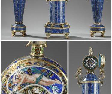 Clock With Vases In Lapis Lazuli And Silver Vienna 19th Century Klok Antieke Klokken Antiek