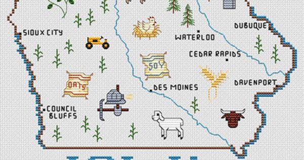 Sue hillis iowa map cross stitch pattern model can be
