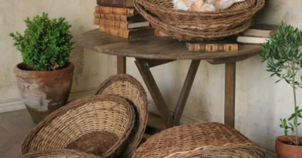 Wall Decor Using Baskets : Vintage willow baskets in shallow round shape would use