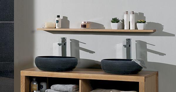 Salle de bains stone ch ne huile et pierre naturelle de for Meuble salle de bain cocktail scandinave
