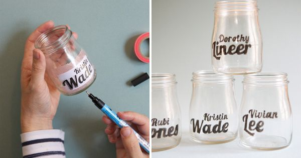 Glass Jar Typography - tape the paper inside and then trace with