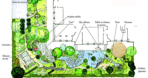 Conception d un jardin japonais un plan d taill plan jardin japonais et plans for Plan jardin japonais