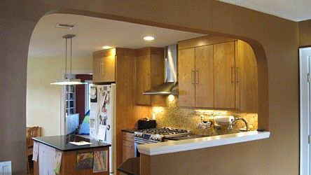 incredible kitchen half wall   Opening wall between kitchen and living room   KITCHEN ...