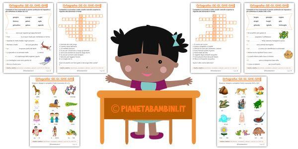 Schede didattiche su ge gi e ghe ghi da stampare for Mp mb scuola primaria