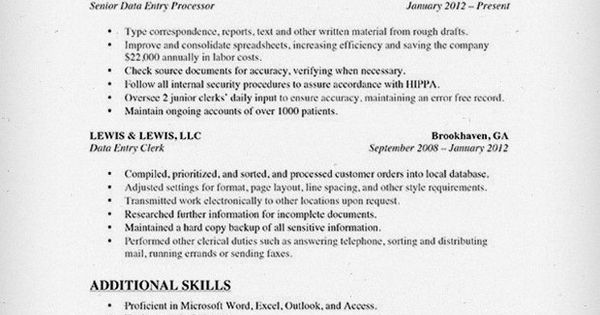 Data Entry Resume Sample 2015 Notes Pinterest Data entry - data entry resume sample