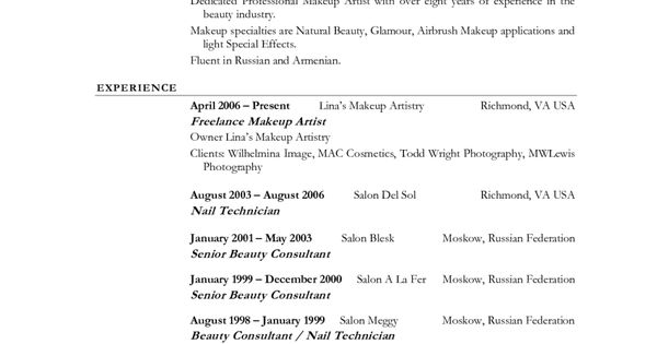 7 beginner makeup artist resume