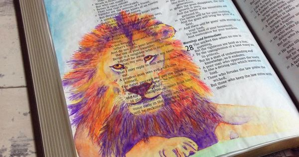 Bible Art Journaling Challenge Week 3 - how to paint a lion