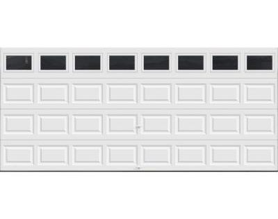 Clopay premium series 16 ft x 7 ft 18 4 r value intellicore insulated white garage door with for 16 foot garage door cost