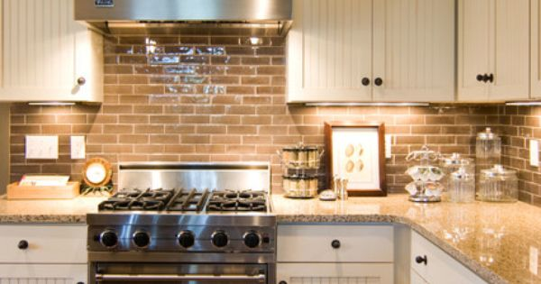 White kitchen cabinets subway tile backsplash home for Country kitchen backsplash ideas