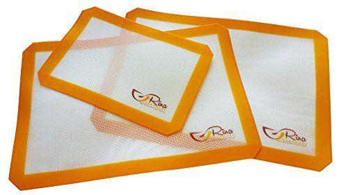 Rina Bakeware Silicon Baking Mat Set Of 3 Non Stick Food Grade Bpa Free High Temperature Range Silicone Baking Mat Baking Mat Silicone Baking Sheet