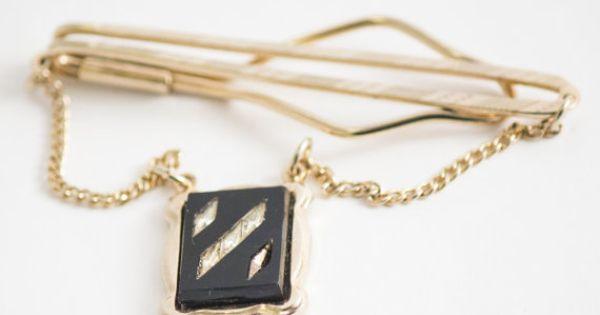 Vintage Tie Clip Art Deco Black Adornment Tie by CuffsandClips
