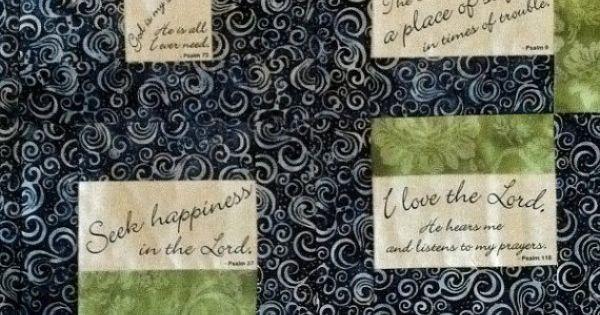 Lap Quilt Bible Psalms Scripture Blue Batik Pale Green