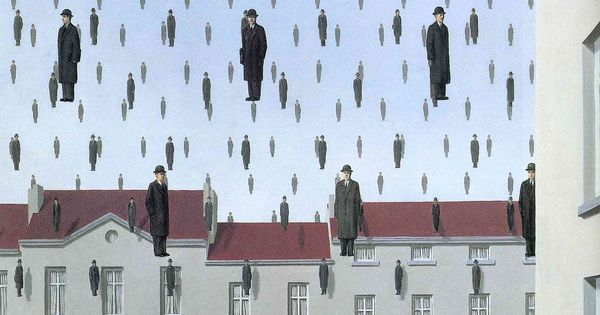 Golconda - Rene Magritte [1953] Brussels, Belgium; Surrealism, Mature period; cityscape, oil